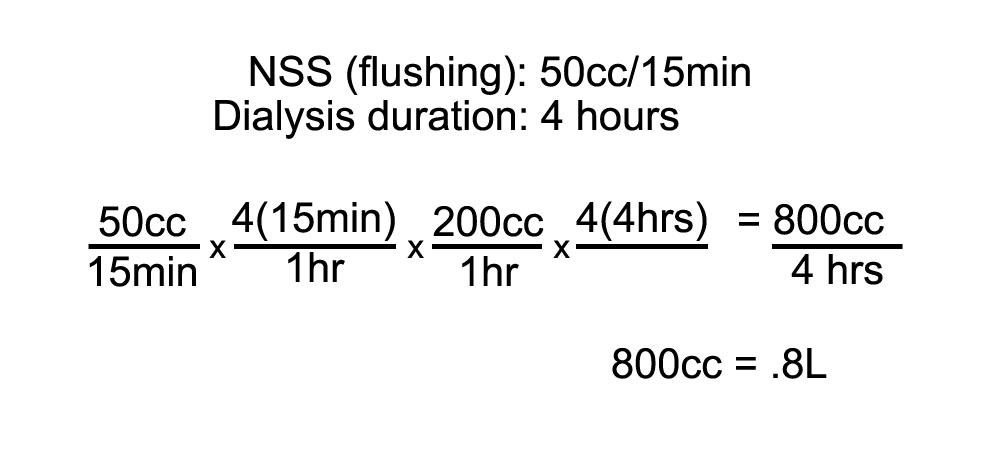 UF goal formula, NSS flushing for dialysis